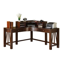 Riverside Furniture - Riverside Furniture Castlewood Corner Desk with Hutch in Warm Tobacco - Riverside Furniture - Home Office Desks - 3352433532KIT - Riverside's products are designed and constructed for use in the home and are generally not intended for rental commercial institutional or other applications not considered to be household usage.Riverside uses furniture construction techniques and select materials to provide quality durability and value in our products and allows us to meet the wide range of design and budget requirements of our customers. The construction of our core product line consists of a combination of cabinetmaker hardwood solids and hand-selected veneers applied over medium density fiberboard (MDF) and particle board. MDF and particle board are used in quality furniture for surfaces that require stability against the varying environmental conditions in modern homes. The use of these materials allows Riverside to design heirloom quality furnishings that are not only beautiful but will increase in value through the years.
