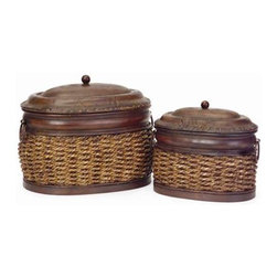 Rattan/Metal Lidded Boxes - Set of 2 - Set of two, oval, nesting, metal and rattan lidded boxes.