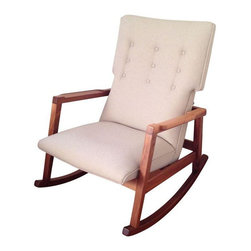 DWR Jens Risom Rocker - This rocking chair is was designed by Jens Risom exclusively for DWR. It is extremely comfortable and tall enough to support your head while you relax. It would be perfect in your living room or a nursery! There are a couple of minor scratches along the rockers.