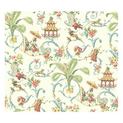 Waverly Classics Cream, Wedgwood Blue, Coral, Amber and Sage Wallpaper - This exotic pagoda wallpaper would be so fun in a powder room!