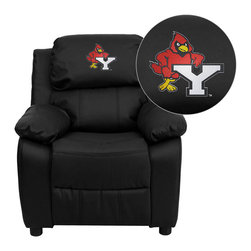 "Flash Furniture - York College Cardinals Black Leather Kids Recliner with Storage Arms - Get young kids in the college spirit with this embroidered college recliner. Kids will now be able to enjoy the comfort that adults experience with a comfortable recliner that was made just for them! This chair features a strong wood frame with soft foam and then enveloped in durable leather upholstery for your active child. This petite sized recliner features storage arms so kids can store items away and retrieve at their convenience. York College Embroidered Kids Recliner; Embroidered Applique on Headrest; Overstuffed Padding for Comfort; Easy to Clean Upholstery with Damp Cloth; Flip-Up Storage Arms; Storage Arm Size: 3.25""W x 6""D x 11""H; Solid Hardwood Frame; Raised Black Plastic Feet; Intended use for Children Ages 3-9; 90 lb. Weight Limit; Black LeatherSoft Upholstery; LeatherSoft is leather and polyurethane for added Softness and Durability; CA117 Fire Retardant Foam; Safety Feature: Will not recline unless child is in seated position and pulls ottoman 1"" out and then reclines; Overall dimensions: 25""W x 26"" - 39""D x 28""H"