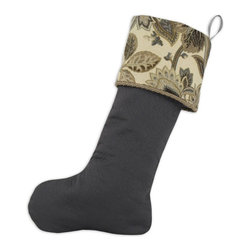 Chooty & Co. - Chooty & Co. Twist Trimmed Stocking Multicolor - TT192050 - Shop for Holiday Ornaments and Decor from Hayneedle.com! Refined and elegant the Chooty & Co. Twist Trimmed Christmas Stocking updates your Christmas decor with aplomb. The charcoal gray stocking has a decorative fold-over top with handsome cream gold and gray botanical print trimmed in a twist rope detail. This Christmas stocking is made of cotton has a matching loop hanger and is the right size to hold all your Christmas cheer. About Chooty & Co.A lifelong dream of running a textile manufacturing business came to life in 2009 for Connie Garrett of Chooty & Co. This achievement was kicked off in September of '09 with the purchase of Blanket Barons well known for their imported soft as mink baby blankets and equally alluring adult coverlets. Chooty's busy manufacturing facility located in Council Bluffs Iowa utilizes a talented team to offer the blankets in many new fashion-forward patterns and solids. They've also added hundreds of Made in the USA textile products including accent pillows table linens shower curtains duvet sets window curtains and pet beds. Chooty & Co. operates on one simple principle: What is best for our customer is also best for our company.