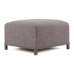 Howard Elliott - Coco Axis Ottoman - Titanium Frame - At the Height of Fashion! Lounge in style on Coco Axis Ottoman. Float the Coco Axis Ottoman on its own or pair it up with additional Ottoman, Chair or Corner Pieces. The steel frame is available in 3 finishes allowing you to choose a frame to best accent your Coco color. Your Coco Axis Ottoman will definitely turn heads with its sophisticated wool-like texture and tonal color selection.