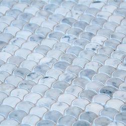 Mission Stone TIle - Bianco Carrara Fan Shaped Marble Mosaic Tile - Curve Appeal Polished - Bianco Carrara Fan Shaped Marble Mosaic Tile - Curve Appeal Polished- Sold Per SF.
