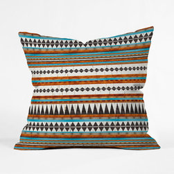 Pecos Stripe Pillow Cover - Heat up your seat with the Southwestern cool of this chic poly pillow cover. A naturally-inspired combination of ivory, clay, and turquoise gives depth to the crackled interplay of slender geometric patterns.
