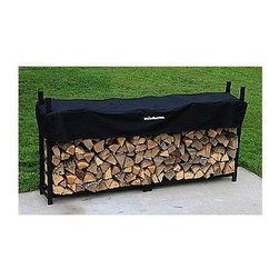 Woodhaven - 8 Foot Firewood Rack w Standard Cover - 1/2 cord rack. Patents pending. Arc welded end sections. Drill precision holes. Black plated stainless steel nuts and bolts. Cover allows airflows to prevent mold, mildew and promote curing process. Protects top of firewood from weather. Four reinforced pockets allow cover to slide down on vertical tubes to level of firewood. Reinforced stitching in all stress points. Velcro panel for quick and easy access to firewood. Accommodates upto 24 in. firewood. Powder coated finish. Lifetime structural warranty. Made from mild steel. Black color. Made in USA. Assembly required. 96 in. L x 14 in. W x 48 in. H (46 lbs.)Also known as a face cord, this big rack incorporates a center support and will store larger amounts of firewood.