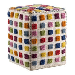 Mat-The-Basics - Gemma Square Pouf by Mat-The-Basics - Using traditional weaving methods, the Mat-the-Basics Gemma Square Pouf is a small ottoman with the same handcrafted luxury of their rugs. A rainbow of small squares populate each face of the pouf like a Rubik's Cube. Hand-woven stitching with colorful thread adds to the fun and playful pattern, making this pouf an appealing way to add a splash of color to a room. Mat-The-Basics has pioneered a new type of carpet - refined, handmade rugs that combine innovative design with a dedication to the highest standards of craftsmanship. These carpets, inspired from contemporary shapes and colors, are created using the traditional techniques of skilled weavers including hand-tufting, hand-weaving and hand-knotting methods.