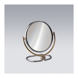 "Windisch by Nameeks - 8.8"" Free Standing 5X Magnifying Mirror with Optical Grade Glass - Windisch's Stand Mirrors makeup magnifying mirror is a magnifying mirror that is perfect for a contemporary style bathroom. Made by Windisch, this free standing optical mirror is a stylish option for your decorative bath. This classic optical mirror is made of the highest quality brass and coated with chrome or gold. Features: -Double face magnifying mirror. -3x magnification. -Available in chrome, satin nickel and gold finishes. -Brass and glass construction. -Free standing. Specifications: -Mirror surface diameter: 7.3"". -Height: 8.8""."