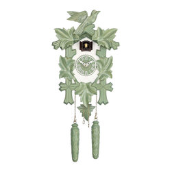 HOK Concepts - Design Collection Quartz Cuckoo Clock, green/white - Design Collection Quartz Pendulum Cuckoo Clock with Cuckoo Chime. This wall clock features a high quality german quartz movement and and an easy-to-read wooden dial. It is complete with a wooden pendulum and decorative wooden pinecones. The cuckoo clock is ornately decorated with a traditional leaf-and-bird motif. A cuckoo sound with echo announces each hour. The battery operated movement with automatic night shut-off from 9 pm until 6 am operates with 2 'C' battery (not included). It is made in the Black Forest of Germany. The dimensions are without pendulum and cones. Great effort has been made to portray this clock as accurately as possible. As with many handmade items, the exact coloration and carving may vary slightly from item to item.
