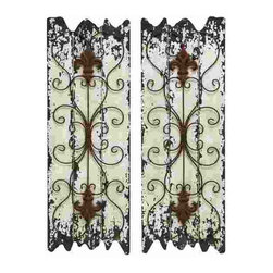 UMA - Old World Iron Grates Wall Grilles Set of 2 - Two wall grilles displayed against a distressed finish backdrop feature delicate scrolls and fleur de lis