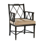 Kathy Kuo Home - Telfair Distressed Brown Hemp Lattice Back English Garden Chair - Claim your rightful spot on this throne. Topped with a tailored cushion, the wooden chair's distressed black-brown finish heralds a diamonds-and-squares trellis frame. Four of these around a games table would give your room a royal flush.