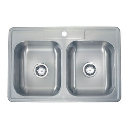 Lenova - Lenova Ss-Tm-33818 Topmount Double Bowl Kitchen Sink Stainless Steel - The Lenova SS-TM-33818 Top Mount Double-Bowl Drop-in Kitchen Sink has overall sink dimensions of 33-Inch by 22-Inch and bowl dimensions of 15-7/8-Inch by 14-1/8-Inch by 8-Inch. The name Lenova is born from a love of space and stars where the universe is truly unlimited. In this boundless spirit we present a line of new and timeless designs for kitchen and bath sinks. Classic in style and exceptional in quality. Premium 18-Gauge 304 stainless steel with a scratch resistant silk finish assures a lifetime of beauty and wear resistance. Lenova's 5 side sound baffling system combines sound pads and full undercoating to insulate and quiet the sinks during use. Covered by Lenova's Limited Lifetime Warranty: Lenova Sinkware warrants all of its stainless steel sinks to be free of all manufacturing and material defects under normal use by the original owner.