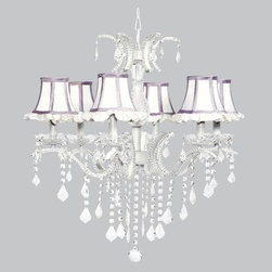 Belle & June - White Ruffle & Lavender 6 Light Glitz Chandelier - This strikingly elegant 6 light Glitz chandelier features white ruffled shades, lavender trim and hanging crystals throughout. We can't think of anything more charming than hanging this in a little girl's bedroom or nursery.