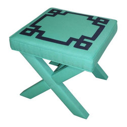 Pre-owned Turquoise & Navy Greek Key X Benches - A Pair - Greek key x benches!  This stunner is upholstered in a turquoise linen fabric with a navy greek key.  Make a stylish statement at the foot of your bed, under a console table, in an entryway.........ANYWHERE! Could be used as extra seating or as a small side table.     Made by hand in the USA from kiln-dried hardwood (Poplar frame and Baltic birch top) and lovingly upholstered!    **Please allow 4-5 weeks lead time.    Measures 20Wx20Dx19.5H