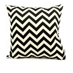 Majestic Home - Outdoor Black Chevron Large Pillow - Add a splash of color and a little texture to any environment with these great indoor/outdoor plush pillows by Majestic Home Goods. The Majestic Home Goods Large Pillow will add additional comfort to your living room sofa or your outdoor patio. Whether you are using them as decor throw pillows or simply for support, Majestic Home Goods Large Pillows are the perfect addition to your home. These throw pillows are woven from Outdoor Treated polyester with up to 1000 hours of U.V. protection, and filled with Super Loft recycled Polyester Fiber Fill for a comfortable but durable look. Spot clean only.