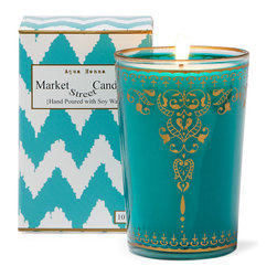 Market Street Candles - Aqua Henna Moroccan Candle - Our signature imported Moroccan tea glass, hand poured with soy wax in the USA, is packaged in a decorative gift box, making it the perfect gift just as they are!