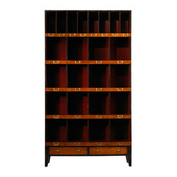 French Heritage - French Heritage Storage Unit, 16 Cubbyholes - Showcase books and collectables in a handsome order. Our clean, scholarly and attractive units bring a well tailored order to your den, home office or study.- One Drawer.- Four Large Cubbyholes.- Four Small Cubbyholes.- Cherry/Maple. - Weight: 80lbs
