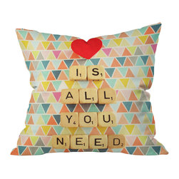 DENY Designs - Happee Monkee Love Is All You Need Throw Pillow, 26x26x7 - Get love, style and a double word score. The message in game tiles pops realistically against a backdrop of colorful triangles custom printed on woven polyester. Love — and this pillow — is really all you need.