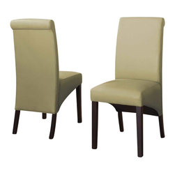 Modus Furniture - Modus Cosmo Sleigh Back Chair in Kiwi (Set of 2) - Modus Furniture - Dining Chairs - 3L9366 - In an industry dominated by varying shades of brown the Cosmo collection from Modus Furniture is a breath of fresh air. Dining chairs and counter stools are available in an array of textured synthetic leathers to add a splash of color to any dining room. Cosmo chairs are constructed with no-sag seat cushions for extra comfort and 10 bolt grooved corner block construction for easy assembly and long term durability. Counter stools have 4 stretchers for maximum rigidity. Chair legs are built from solid poplar and are an exact match to our best-selling Bossa tables.