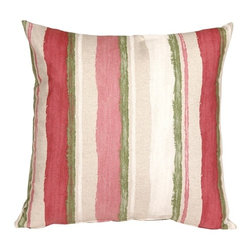 Pillow Decor - Pillow Decor - Albany Stripes 20 x 20 Throw Pillow - The Albany Stripes 20 x 20 Throw Pillow is bold and cheerful. The printed brush strokes run horizontally on both the front and back of the pillow. The stripes are in two shades of pink, a crisp cream and a grass Green. The background of the pillow is a beautiful shade of light flecked sand. This decorative throw pillow is finished with a color matching hidden zipper. The pillow combines wonderfully with the rest of the Albany Collection Throw Pillows and they look so beautiful on a window seat or sofa.