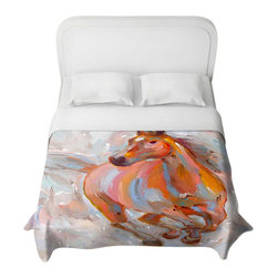 DiaNoche Designs - Equine Elegance Duvet Cover - Lightweight and super soft brushed twill duvet cover sizes twin, queen, king. Cotton poly blend. Ties in each corner to secure insert. Blanket insert or comforter slides comfortably into duvet cover with zipper closure to hold blanket inside. Blanket not included. Dye Sublimation printing adheres the ink to the material for long life and durability. Printed top, khaki colored bottom. Machine washable. Product may vary slightly from image.