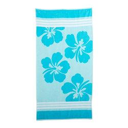 Beach Towel 450GSM, 34 x 63 - Hawaiian Flower, Blue - Hawaiian Flower Beach Towels (Set of 2)100% Cotton