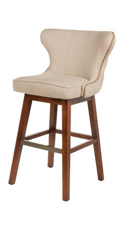 Four Hands - Julie Swivel Barstool - Hyde Clay, Bar Height - The contemporary Metro Collection features a bold, European-inspired style. This collection of leather and fabric upholstery adds a new dimension to modern luxury. The collection features an array of occasional chairs, bar and counter stools/benches, dining chairs, beds and ottomans.
