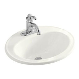 KOHLER - KOHLER K-2196-1-0 Pennington Self-Rimming Drop-In Bathroom Sink - KOHLER K-2196-1-0 Pennington Self-Rimming Drop-In Bathroom Sink with Single Faucet Hole in White