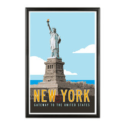 Transit Design - Vintage New York Travel Poster - Classic typography and great color combine to create a great vintage look on the New York Travel Poster. Original illustration signed by Michael Jon Watt.