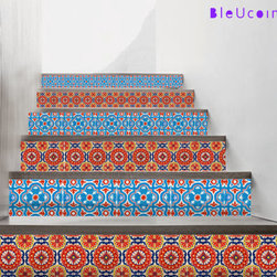 Stair Riser Mexican-Style Decal by Bleucoin - Instead of installing Spanish tiles, you can opt for a temporary solution: vinyl decals. These are designed specifically to give a Mexican vibe to the stair risers in your home.