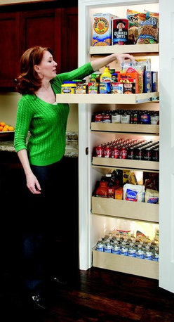 Pull Out Pantry Shelves - Pull out pantry shelves from ShelfGenie will organize your surplus food so that you know what you have on hand.  Save yourself time and money by using what you have on hand instead of wasting time and money on an unnecessary trip to the grocery store.