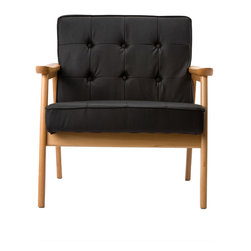 Mid-Century Beech Lounge Chair in Black Leatherette - Luxurious button tufting and natural wood take you back to a time long past. The black leatherette  Mid-Century Beech Lounge Chair is sure to be a stand-out in your living room.