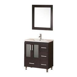 """Design Element - Stanton 32"""" Single Sink Vanity Set, Espresso, 32"""", Stanton 32"""" - Solid Hardwood Frame, Furniture Grade Plywood Panels, Espresso Finish, Integrated Porcelain Counter top and Sink, Matching Framed Mirror, Chrome Pop-Up Drain, Soft-Closing Double-Door Cabinet, Four Pullout Drawers, Satin Nickel Hardware. Vanity Set Includes: Cabinet, Countertop/Sink, and Mirror"""
