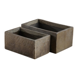 """Artemano - Rectangular Cement Pot, 15"""" L X 8"""" W X 7"""" H - Transform your house into a home by integrating tasteful accent pieces rich in texture and dimension throughout. Hand-cast out of weather-resistant cement, each versatile pot is substantial in both weight and size and is ideal for both indoor and outdoor use alike.  Given the handcrafted nature of this rectangular planter pot, each piece is unique and bears markings and striations that cannot be duplicated."""