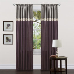 Lush Decor - Terra Purple Window Curtain - Set of 2 - Includes: 2 Window Panels. Fabric Content:100% Polyester. Color: Purple. Care Instruction: Dry clean. 54 in. x 84 in. Fun colors and classy designs makes this drapery set perfect for any room. Top loop slides easily onto your curtain rod for quick installation. Full lining provides extra insulation and privacy. Durable fabric promises lasting quality.