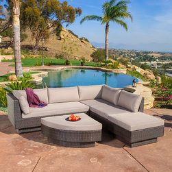 Christopher Knight Home - Christopher Knight Home Branson Outdoor 4-piece Multibrown Wicker Sofa Set - There is nothing like enjoying the warm outdoors with the comforts of the Branson 4pc sectional. Constructed from multi-brown wicker,this set includes two large loveseats and two uniquely shaped ottomans.