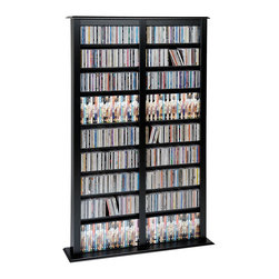 Prepac - Prepac Black Double Width Barrister Storage Tower for Multimedia (Holds 800 CDs) - Keep your storage options flexible with the double width barrister tower. Each tower boasts space for more than 700 CDs, making it perfect for ambitious collectors. Its adjustable shelves offer even more storage versatility. With this product, your collection has space to grow.