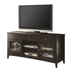 Coaster - Coaster TV Console with CONNECT-IT Power Drawer in Cappuccino - Coaster - TV Stands - 700694 - Built for the digital lifestyle this TV console meets all of your media needs without sacrificing style and beauty. Featuring a CONNECT-IT power drawer and wire management this console allows you to charge your iPod and cell phone while watching TV all in a neat well-organized environment. An assortment of drawers shelves and glass doors provide plenty of storage space for entertainment equipment and electronics. The top panel accommodates television sets up to 77 pounds and 58 inches in diameter.