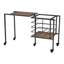 Sterling Industries - Industrial Fold Away Storage Bench - Fold Away Storage Bench Furniture in Restoration Black, Stained Wood by Sterling Industries