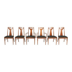Kent Coffey - Consigned Mid Century Walnut Kent Coffey Perspecta Dining/Arm Chairs (Set of 6) - • Mid Century Modern