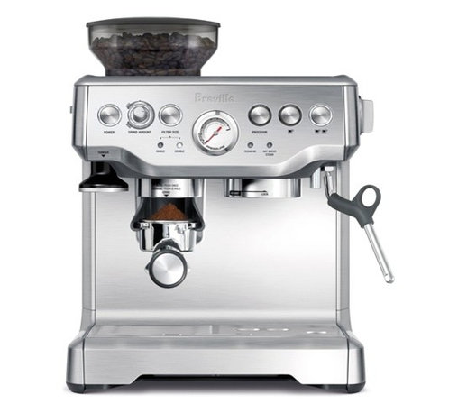 Breville - Breville BES870XL Upgraded The Barista Express Die-Cast Espresso Machine & Grind - Nothing beats starting the day with the perfect pull of espresso. So why not take the plunge and get your own machine. You'll have expertly ground beans, rich espresso and frothy milk in just a few short minutes. It's the perfect daily wake up call.
