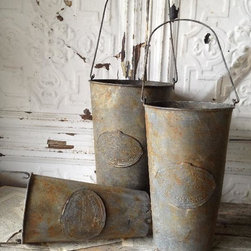Embossed Metal Hanging French Flower Market Buckets - French flower buckets are perfect for holding freshly cut garden flowers or herbs. I like to use these for outdoor table centerpieces in the summer and fill them with rosemary clippings.