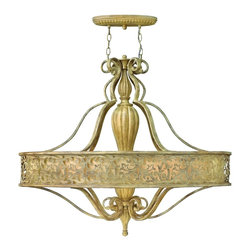 Fredrick Ramond - Fredrick Ramond FR44626BCH Carabel Ceiling Pendant - French Country Single Tier Chandelier in Brushed Champagne from the Carabel Collection by Fredrick Ramond.