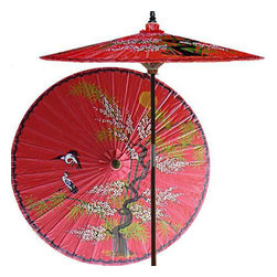 "Oriental-Décor - Asian Splendor (Dragon Red) - Beautiful and artistic, this outdoor patio umbrella features a juniper tree, which is symbolic of wisdom and protection, with two cranes flying near. Ideal for any outdoor setting, this stunning patio umbrella is perfect for adding a vibrant and colorful touch to any deck or patio.    - 7 foot umbrella pole constructed of rich stained oak hardwood.  - Each umbrella is entirely handcrafted down to the finest detail.  - Oil-treated cotton umbrella shades are all hand-painted by our master artists.  - Dual position shade height allows for full coverage or a better view of the painted shade.  - Waterproof and weatherproof.  - Two-piece pole fastens securely with a polished metal coupling.  - Pole diameter of 1.5"" easily fits into any standard size umbrella base or table.  - Optional umbrella base available - handcrafted from stained oak hardwood."
