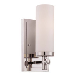 Manhattan 1 Light Sconce - The city that never sleeps inspired the urban style of this design, featuring a chic, clean loft look. Crafted of our smooth Polished Nickel finish with cylinder-shaped white opal etched glass accents, Manhattan shines with contemporary flair. This family features several exceptional designs, including breathtaking bath selections and some rod hung styles. Weight: 5. 10 lbsFinish: Polished NickelBulb Wattage: 60Glass: White Opal EtchedNumber of Bulbs: 1Type of Bulb: CNumber of Arms: 1Extends Length: 4. 38Bulbs Included: NoBackplate Width: 4. 50Backplate Height: 8. 00Safety Rating: UL, CULVoltage: 120