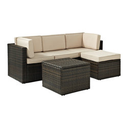 Crosley - Palm Harbor 5 Piece Outdoor Wicker Seating Set - Two Corner Chairs,  Center Chai - Dimensions: 26.8 x 43.5 x 25.5 inches