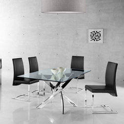 Creative Furniture - Fabio 5 PC Dining Set (Table and 4 Chairs) - This sleek, contemporary dining set from Fabio Collection by Creative Furniture consists of table and 4 chairs. The chairs are available in 2 finishes: Black or White Eco-leather. the table comes with thick glass top and X-shape metal legs in chrome finish.