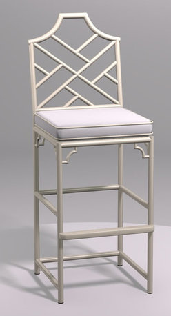 Chinese Chippendale Bar Stool - This gorgeous Chinese chippendale bar stool is striking. I love its clean, classic lines.