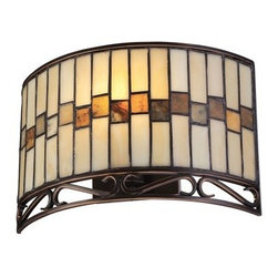 """Lite Source - Lite Source C71154 8"""" Single Light Up Lighting Wall Sconce with Tiffany Glass Sh - Traditional / Classic 8"""" Single Light Up Lighting Wall Sconce with Tiffany Glass Shade from the Omora CollectionThe Omora wall sconce is a beautiful traditional style piece. The Tiffany glass shade adds an artistic element that enhances the aesthetic.Features:"""