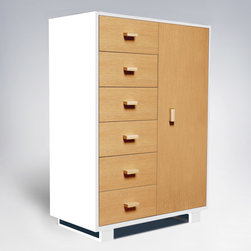 """ducduc - ducduc Austin 6 Drawer Armoire - Living up to the fun and sophistication of its company name, ducduc furniture delivers modern style to the today's family. A hint of retro inspiration lends a mid-century vibe to the Austin armoire while fresh color combinations and box frame feet update the look for today. Storage made simple, one side boasts 6 roomy drawers finished with painted square pulls and ducduc's signature orange interior. Hang clothes and store blankets on the other as its cabinet door opens to reveal 2 adjustable shelves and a hanging bar. A wire management system allows it to house modern media. Made in the USA using sustainably harvested hardwood and water-based, non-toxic finishes. 36""""W x 20""""D x 54""""H. Choose from several colors and finish combinations. Safety features include a wall mount anti-tipping strap and rabbeted joints for strength. Under-mounted soft close glides allow drawers to move smoothly. Low carbon footprint production techniques. Formaldehyde and lead-free. ducduc gives back to the community through several charities."""